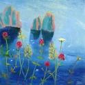 Mark Sofilas - Capri in bloom, Oils on canvas, 61cm x 61cm