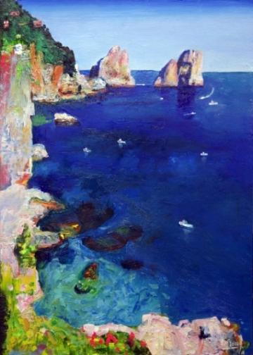 Mark Sofilas, Deep blue, Oils on wood, 61cm x 44cm